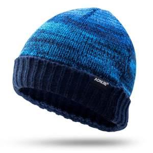 运动针织帽子男女秋冬天户外加厚毛线帽登山滑雪帽跑步保暖帽 AONIJIE M-25